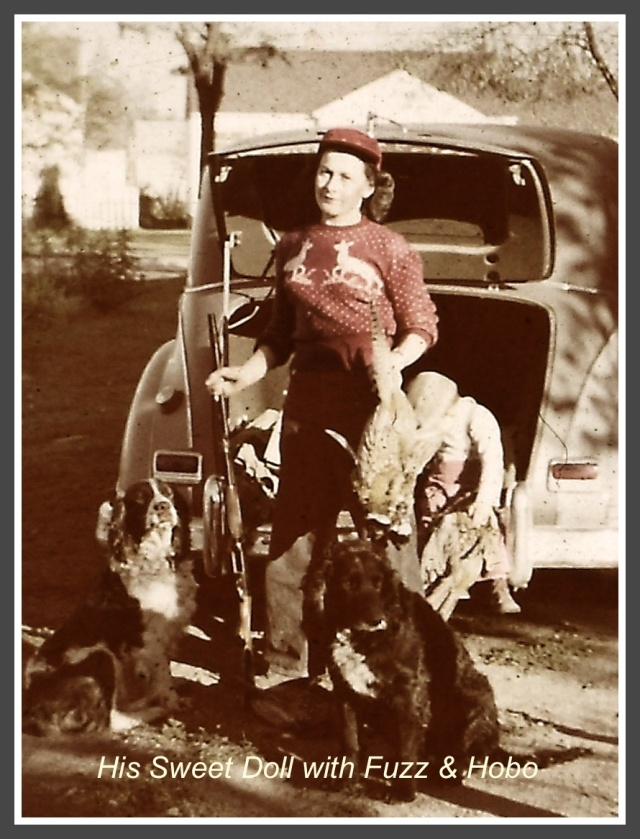 Mom with pheasant and dogs copy