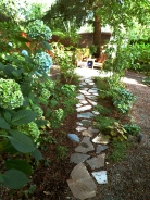 Flagstone path to the other end of the back yard