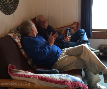 Duncan and Les enjoy morning coffee in my cabin.
